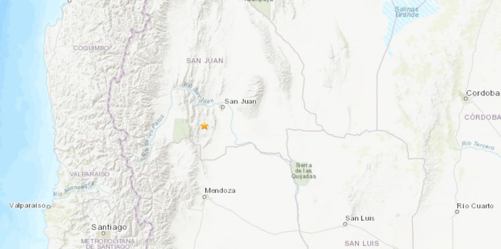 Temblor Frontera Argentina y Chile